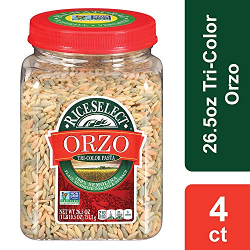 RiceSelect Orzo Tri-Color Pasta, 26.5 oz Jars (Pack of 4)