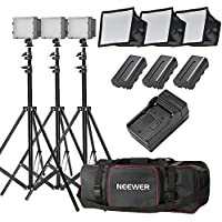 Neewer 3x 160 LED light kit Dimmable Ultra High Power Panel Digital Camera/Camcorder Video Kit,Includes:(3x)CN-160+(3x)5.9x6.7 LED Softbox+(3x)Battery Replacement(3x)6 Feet Light Stand+(1)Bag