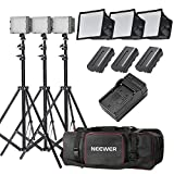 Neewer 3x 160 LED light kit Dimmable Ultra High Power Panel Digital Camera/Camcorder Video Kit,Includes:(3x)CN-160+(3x)5.9''x6.7'' LED Softbox+(3x)Battery Replacement(3x)6 Feet Light Stand+(1)Bag
