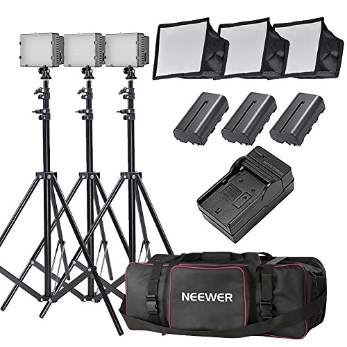 Neewer 3x 160 LED light kit Dimmable Ultra High Power Panel Digital Camera/Camcorder Video Kit,Includes:(3x)CN-160+(3x)5.9″x6.7″ LED Softbox+(3x)Battery Replacement(3x)6 Feet Light Stand+(1)Bag