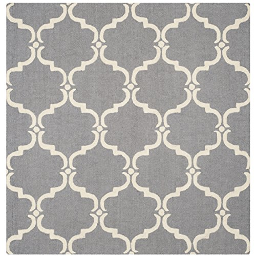 Safavieh Cambridge Collection CAM703D Handcrafted Moroccan Geometric Dark Grey and Ivory Premium Wool Square Area Rug (8' Square)