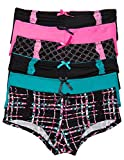 6 Pack Juniors Boyshort Panties with Lace Detail (Large, 6PK Wild)