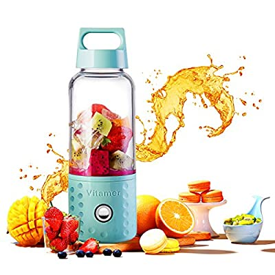 Portable Blender, TOPQSC Smoothie Blender USB Juicer Cup, 17oz Fruit Mixing Machine with 4000mAh Rechargeable Batteries, Detachable Cup, Perfect Blender for Personal Use (FDA, BPA Free)