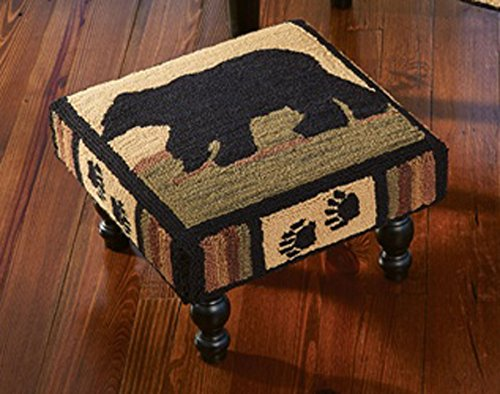 Black Bear Footstool (Park Designs Adirondack Bear Hooked Stool, 16