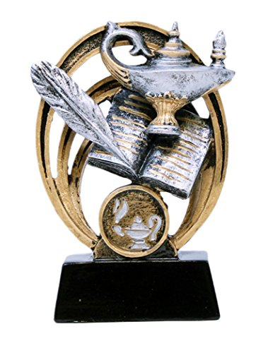 Decade Awards Academic Halo Trophy | Lamp of Knowledge Award | 5 Inch Tall - Free Engraved Plate on Request
