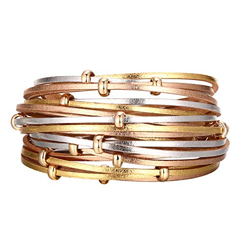 Fesciory Women Multi-Layer Leather Wrap Bracelet Handmade Wristband Braided Rope Cuff Bangle with Magnetic Buckle Jewelry(Gold Circle)