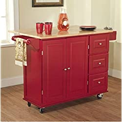 TMS Kitchen Cart and Island - This Portable Small Island Table with Wheels Has a Solid Wood Counter Top - 3 Drawers and 3 Cabinets for Additional Storage Space! (Red) by TMS