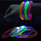 Metable 8 Pcs Led Flashing Bracelets With 8 Sets Spare Batteries Colorful Light Up Bubble Bracelet For Weddings,Birthdays,Holidays,Concert Party Favors Funny Kids Toys