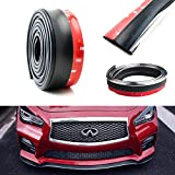 iJDMTOY Universal Black PU Front Bumper Lip Splitter Chin Spoiler Body Kit Trim, 8ft (2.5 Meters) with Removable Silver Trim