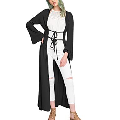 e5ac539368 Cenglings Womens Autumn Spring Casual Lace Kimono Open Front Long Puff  Sleeve Cardigan Lace Up Ankle
