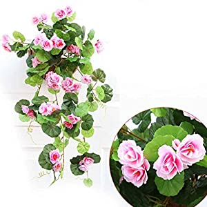 Omkuwl Artificial Silk Begonia flowers vine Hanging Plant Vine DIY Garland Home pink 51