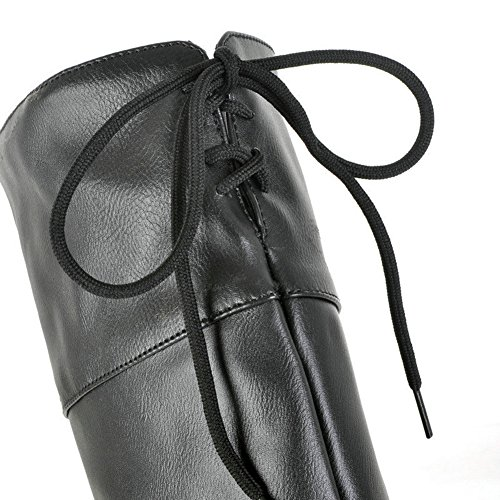 Aisun Womens Trendy Ronde Neus Platform Lace Up Stiletto Hoge Hakken Lace Up Kniehoge Hoge Laarzen Zwart