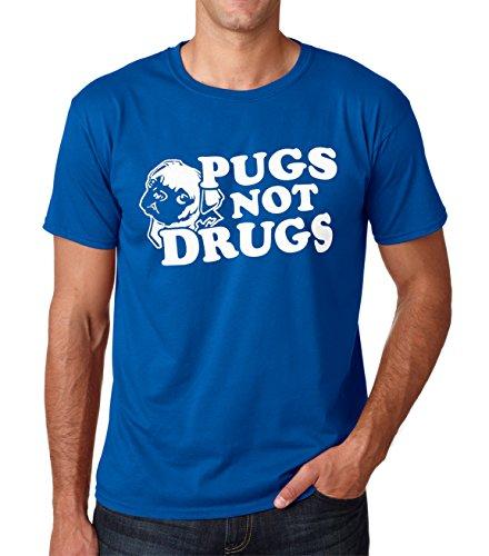 SignatureTshirts Men's Pugs Not Drugs T-Shirt (Large, Royal)