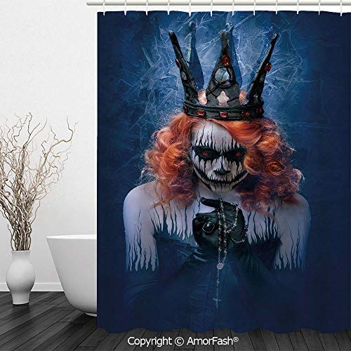 Queen,Fabric Shower Curtain - Spa,Hotel Luxury,Water Repellent,Decorative Bathroom Curtains,72 x 72 inches,Queen of Death Scary Body Art Halloween Evil Face Bizarre Make Up Zombie,Navy Blue Orange Bla]()
