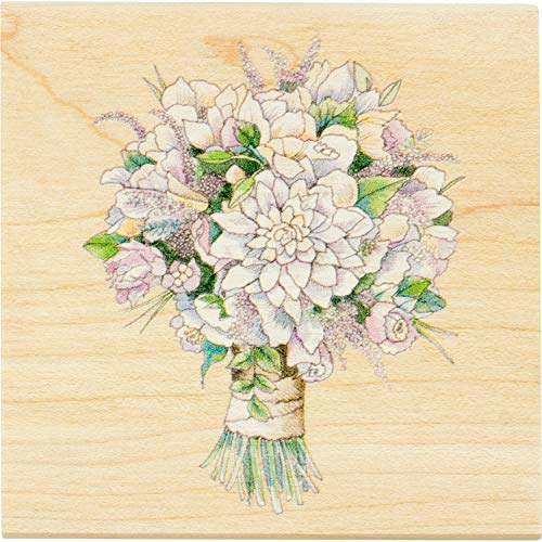 Inkadinkado Bridal Bouquet Mounted Rubber Stamp for Wedding Card Making and Scrapbooking, 3'' x 3'' x 1'' ()