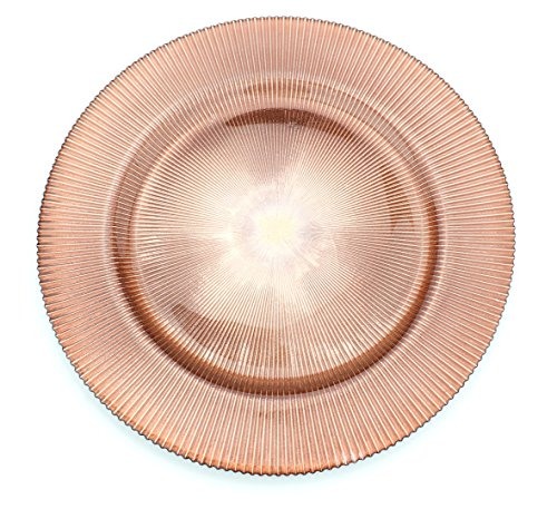 Glass Charger 13 Inch Dinner Plate With Etched Design and Metallic Tones - Set of 4 - Rose Gold