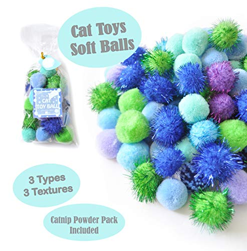 BALLMIE Cat Toys Ball Soft Crinkle Sparkle Balls Pom Pom Cat Balls Cat Ball