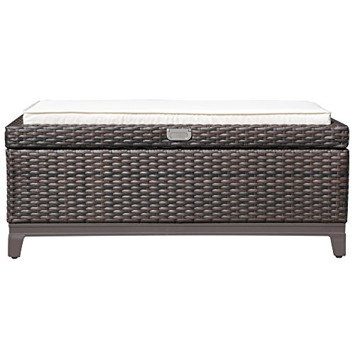 JOIVI Wicker Storage Ottoman Bench, Outdoor Patio Brown Aluminum Storage Box, Storage Bench Deck Box (White Seat Cushions)