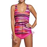 Alisa.Sonya Women Plus-Size Tribal Printed Tankini 3 Piece Swimwear Set