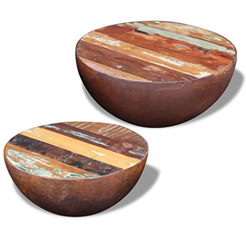 Round Bowl Shape - vidaXL Set of 2 Solid Reclaimed Wood Round Bowl Shape Coffee Table Home Decor