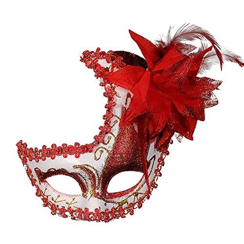 Masquerade Mask Cut Metal Masks Mardi Gras Halloween Masks for Women Makeup Party Halloween Cospay (Red) -