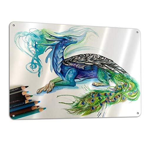 Eleanore Johnson Peacock Dragon Signage 12¡± X 18¡± Metal Sign Aluminum Safety Signs/Utility Signs/Information Signs and Equipment Warning Signs Indoor/Outdoor