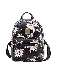Donalworld Women Backpacks Girl Casual Flower Print PU Leather School Bags