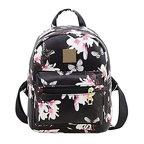 Donalworld Women Backpacks Girl Casual Flower Print PU Leather School Bags Black