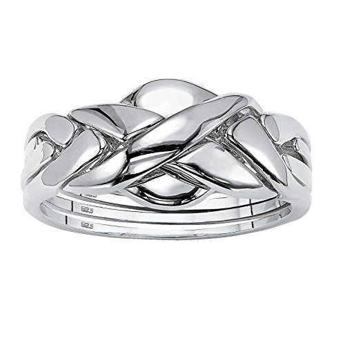 Sterling Silver Puzzle Ring - Platinum over Sterling Silver Interlocking Puzzle Ring Size 7