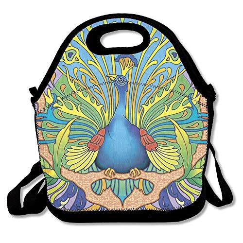 - Art Nouveau Peacock Lunch Bag Lunch Tote Lunch Pouch Handbag Made for Women, Men and Kids