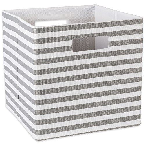 DII Hard Sided Collapsible Fabric Storage Container for Nursery, Offices, Home Organization  (Large-13x13x13 Pin Stripe, Large, Gray