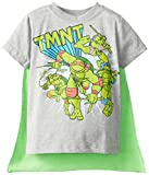 Teenage Mutant Ninja Turtles Little Boys' Toddler Tent Group Cape T-Shirt, Grey, 2T
