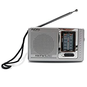 INDIN BC-R2011 AM / FM Portable Pocket Radio-Best reception and Longest Lasting. designed for life and convenience ,mini AM FM Radio Operated by 2 AA Battery, perfect and best gift to family (Silver)