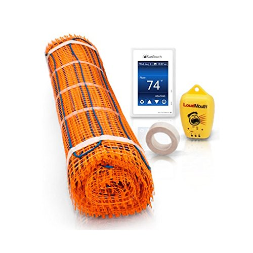 150 Sq Foot SunTouch Mat Kit contains 1 each 2x35 & 2x40 Ft mat, Programmable Touch Screen Thermostat, accessories (Watts Radiant Heat)