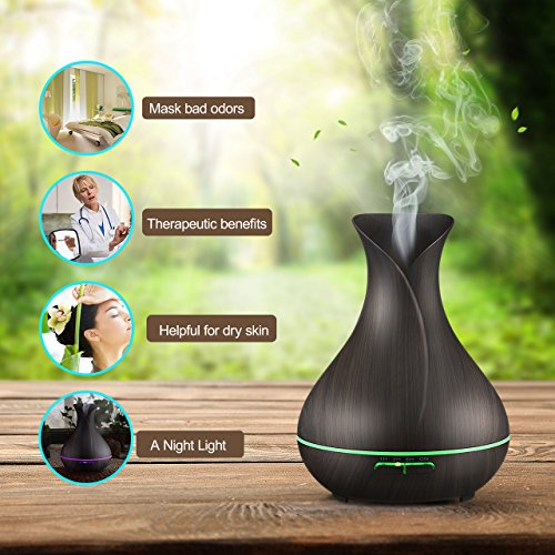 VicTsing 400ml Aromatherapy Essential Oil Diffuser, Ultrasonic Cool Mist Humidifier with 14 Color LED Light, Wood Grain Design