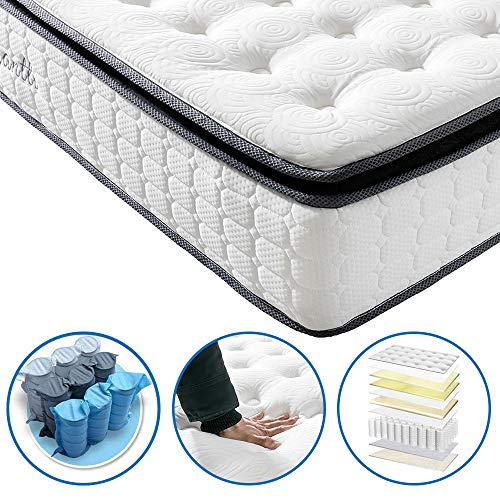 - Vesgantti Pillow Top Series - 10.6 Inch Innerspring Hybrid Queen Mattress/Bed in a Box, Medium Firm Plush Feel - Multi-Layer Memory Foam and Pocket Spring - CertiPUR-US Certified/10 Year Warranty