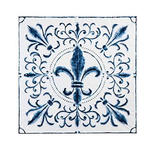 Light Blue Fleur De Lis - Cape Craftsmen Blue and White Embossed Fleur-de-Lis Square Metal Medallion