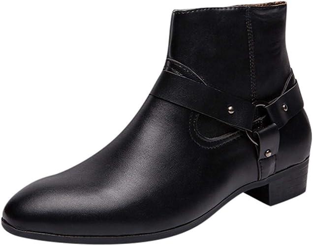 Bottines Homme Cuir Mode Pas Cher Grand Taille Boots à Talon Plates Chelsea Bottes Court Automne Hiver Vintage Hautes Chaussure De Ville