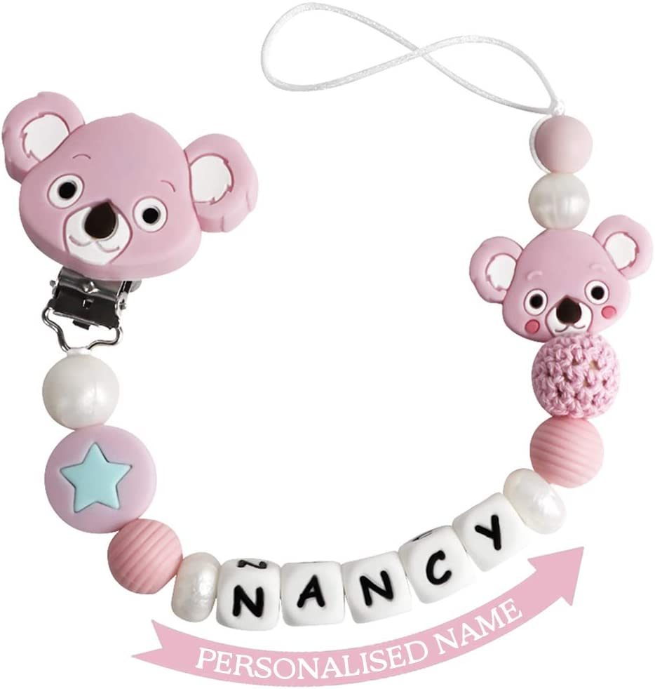 Personalised  Wooden Girls Dummy Clip Pacifier//Dummy Chain Baby Gift//Silicone