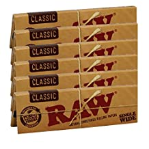 Raw Classic Natural Unrefined Rolling Paper 70mm Single Wide Size 6 Packs