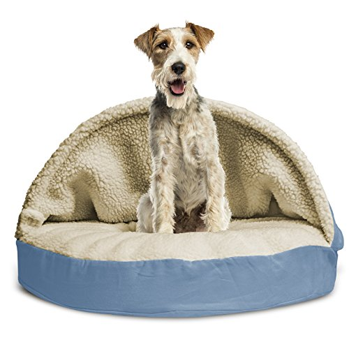 Furhaven Pet Dog Bed | Orthopedic Round Faux Sheepskin Snuggery Burrow Pet Bed for Dogs & Cats, Blue, 35-Inch