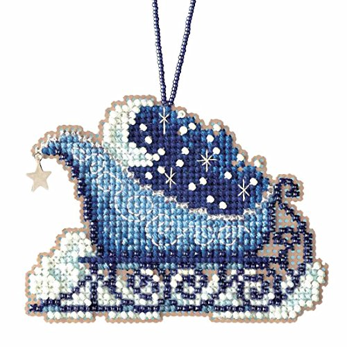 Celestial Sleigh Beaded Cross Stitch Kit Mill Hill Charmed Ornaments 2017 Sleigh Ride (Hill Ornament)