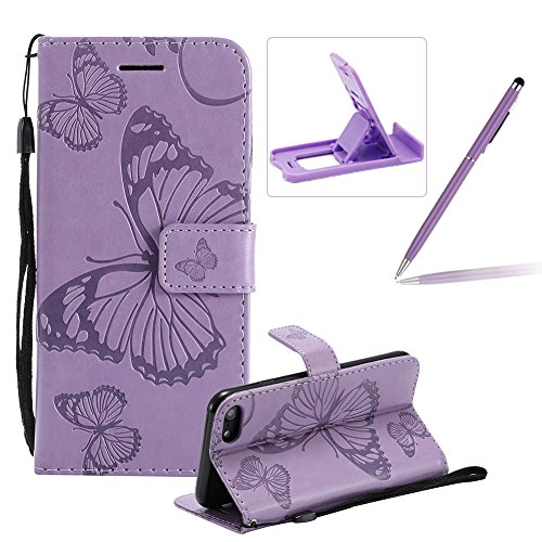 Strap Leather Case for iPhone 8,Wallet Leather Case for iPhone 7,Herzzer Premium Stylish Pretty 3D Red Butterfly Printed Bookstyle Magnetic Full Body Soft Rubber Flip Portable Carrying Stand Case with Purple