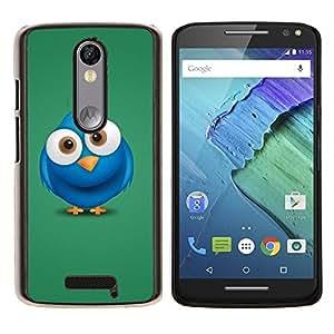 YiPhone /// Prima de resorte delgada de la cubierta del caso de Shell Armor - Blue Bird Big Eyes dibujo dibujos animados - Motorola Moto X3 3rd Generation