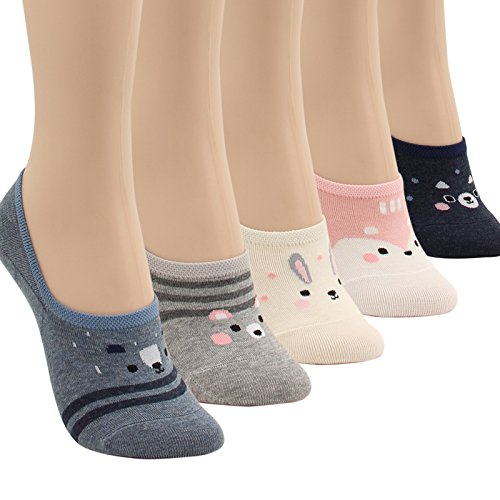 WOWFOOT Women Animal Design No-Show Casual Liner Socks Character Print Non Slip Flat Boat Line 4 Pair (5pair-Soft Animal) by WOWFOOT