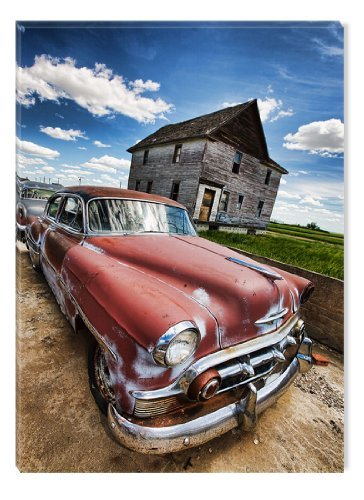 Startonight Wall Art Canvas Rusty Car, Grunge USA Design for Home Decor, Dual View