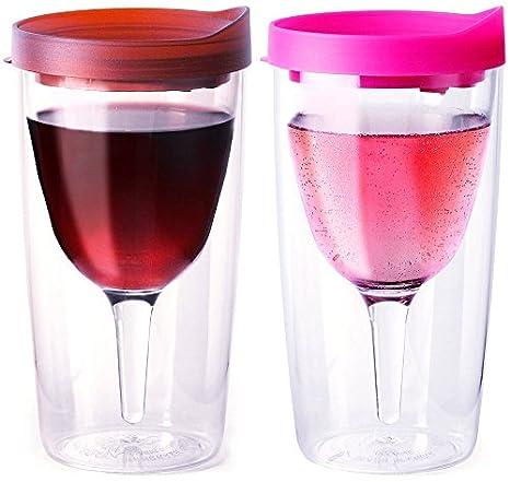 Vino2Go Wine Tumblers, 10-Ounce, Set of 2, Merlot and Pink 564276-VTG-VERDE-RRG