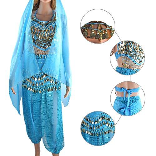 SymbolLife Belly Indian Dance costumes, Bauchtanz kostüm damen indischen Tanzkleidung Tanzkostüme Fasching Kostüme Darbietungen Kleidung Das Obere + Pluderhosen + Gürtel+ Kopf Kette Hell Blau