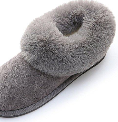 Cattior Dames Bont Gevoerde Warme Outdoor Slippers Huis Schoenen Grijs