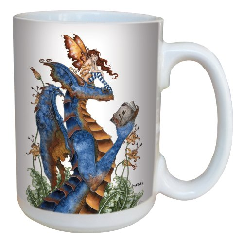 Fantasy Book Club Reading Dragon and Fairy Ceramic Mug with Full Handle by Amy Brown, 15-Ounce - Fairies Themed Gifts - Tree-Free Greetings lm43582